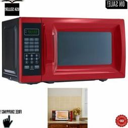 0.7 Cu. Ft. 700W Red Microwave with 10 Power Levels, Kitchen