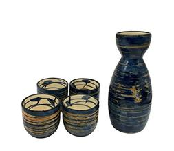 KCHAIN 5 in 1 Ceramic Sake Set Hand Painted Color