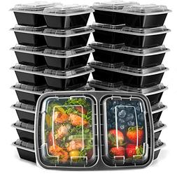 EZ Prepa  28oz 2 Compartment Meal Prep Containers with Lids