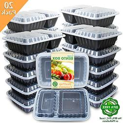 Enther Meal Prep Containers  2 Compartment with Lids, Food S