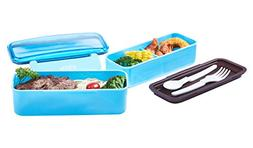 2 Layers Bento Lunch Boxes for Kids Adults, BPA-Free Plastic