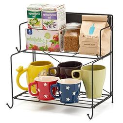 2-Tier Foldable Spice Rack, EZOWare Collapsible Kitchen Stor