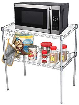 Mind Reader Microwave Oven Rack Shelving Unit, 2-Tier Storag
