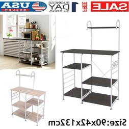 3/4-Tier Microwave Oven Cart Bakers Rack Kitchen Storage She