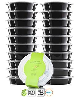 Chef's Star 20 Pack Of 3 Compartment Reusable Food Storage C