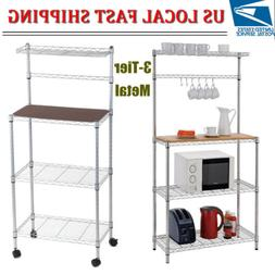 3-Tier Mobile Kitchen Microwave Storage Rack Pantry Stand Ho
