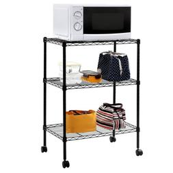 3 Tier Rolling Home Kitchen Storage Rack Microwave Oven Cabi