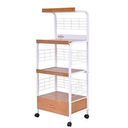 3-Tier Rolling Kitchen Microwave Oven Stand Cart with Electr