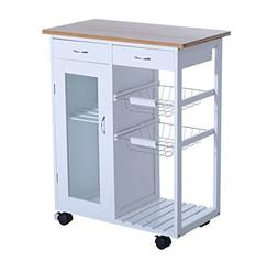 "HOMCOM 28"" Rolling Kitchen Cabinet Organizer Appliance Cart"