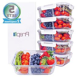 Glass Meal Prep Containers 2 Compartment Set- Food Lunch St
