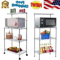 4 Tiers Microwave Cart Oven Stand Storage Workstation Shelf