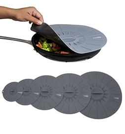 5 Microwave Cover Silicone Lids - 6, 8, 10, 12 and 14 inch -