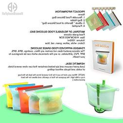 5 Quality Reusable Food Silicone Bags & Bag Holder Ebook Fre