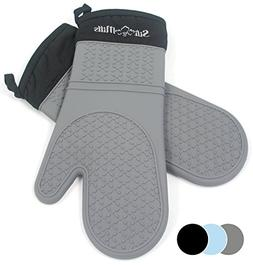Grey Silicone Oven Hot Mitts - 1 Pair of Extra Long Professi