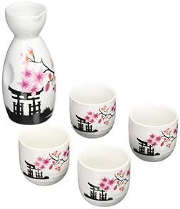 OliaDesign 5 Piece Ceramic White and Red Blossom Japanese Sa