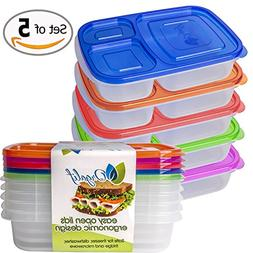 Orgalif Lunch Container for kids 3-Comparment Reusable Plast