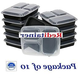 Reditainer 3-Compartment Microwave Safe Food Container with