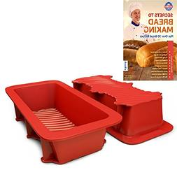 Silicone Bread and Loaf Pan Set of 2 Red, Nonstick, Commerci