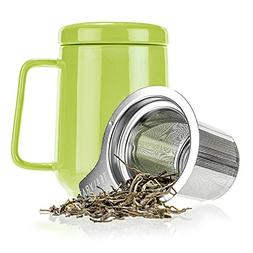 Tealyra - Peak Ceramic Lime Tea Cup Infuser - 19-ounce - Lar