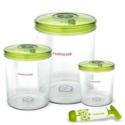 Vacucraft 4-Piece Cylinder Vacuum Food Container Set