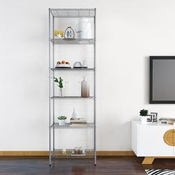 Adjustable Height 6 Tier Wire Storage Organizer Rack and She