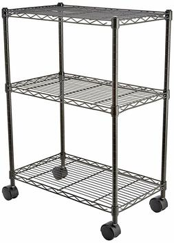 AmazonBasics 3-Shelf Shelving Unit on Wheels - Black