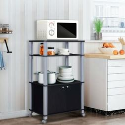 Bakers Rack Microwave Stand Rolling Storage Cart Kitchen Tro