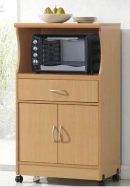 K&A Company Beech Wood Microwave Cabinet Wheels Cart Kitchen