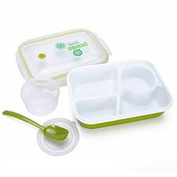 Bento Box Lunch Box 3-compartment 1-bowl  1- Spoon - Silicon