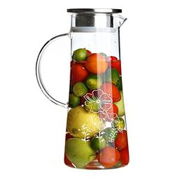 Cupwind 51 oz Borosilicate Glass Water Carafe Pitcher with S