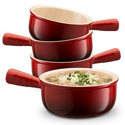 KooK Ceramic French Onion Soup Bowls With Handles, 12 Ounce