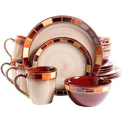 Gibson 16-Piece Classic Stoneware Features Colorful Tiled Bo