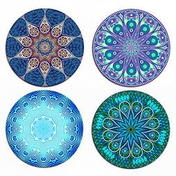 "Coaster For Drinks - MANDALA, 4 Pack Large 4"" Size With Cork"