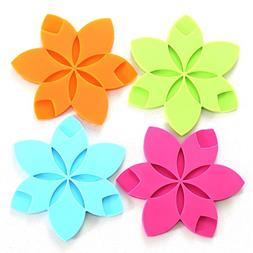 Teabloom Hot/Cold Slip-Proof Star Shaped Silicone Coasters /