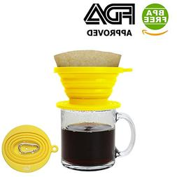 JYPC Collapsible Coffee Silicone Dripper for Camping Filter