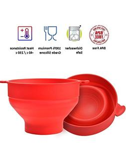 Collapsible Microwave Popcorn Popper,Silicone Popcorn Maker