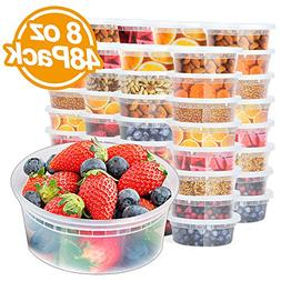 Glotoch 48pack 8oz Deli Food Storge containers with lids.Foo