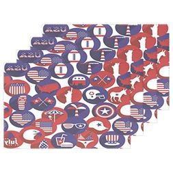 FENNEN Dining Placemats American Flag Table mats Non-Slip Do