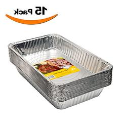 15 Pack - Disposable Aluminum Oblong Foil Steam Table Pans,