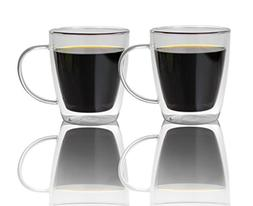 Large Double Walled Glass Coffee Mugs 16 oz, Set of 2, Dishw