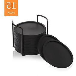Drink Coaster with Holder, Silicone Coaster Set of 15 BPA Fr