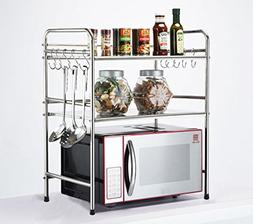 DEKDEJA Durable 2-Tier Microwave Oven Storage Rack Kitchen T