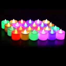 24 Pack Flameless Tealight Candles - 7 Color Changing Batter