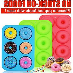 WALFOS 3 Pack Food Grade Silicone Donut Pan Molds,Non-Stick