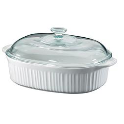 Corningware French White 4 Quart Oval Casserole W/ Glass Cov