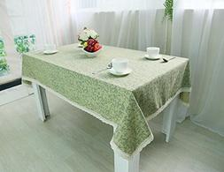 MeMoreCool Fresh Green Color Leaf Pattern Rectangular Table