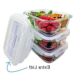 Glass Meal Prep Containers 3 Compartment Bento Box, Lunch Bo