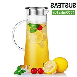 1.5 Liter 51 Ounces Glass pitcher with lid covered gallon ic