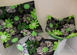 GREEN FLORAL Microwave Bowl Cozy/Set of 3/small, medium and