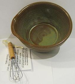 Handmade pottery egg omelet bowl with whisk and recipe / Mic